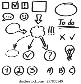 Set of graphic elements, hand drawn with marker on whiteboard. Arrows, flowcharts and other symbols to mix and match in different ways.