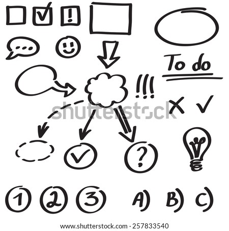 Set Graphic Elements Hand Drawn Marker Stock Vector Royalty Free