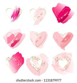 A set of graphic elements for wedding design. Golden foil linear hearts, rose pastel and pink watercolor brush strokes.