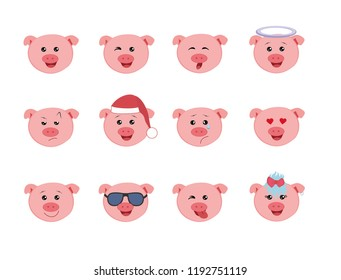 Set of Graphic emoticons set- pigs. Collection of emoji vector. Smile icons web. Vector illustration on white background.