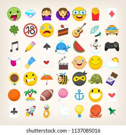 Set of graphic emoticons, signs and symbols used in social media chats. Cartoon style vector icons. Cute and funny characters and emojis. List of not so popular emoticons. Find more in my portfolio