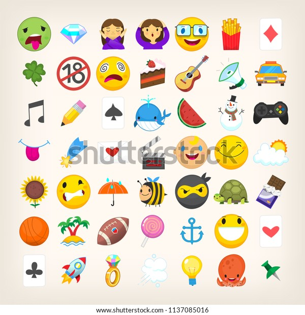 Set Graphic Emoticons Signs Symbols Used Stock Vector (Royalty Free