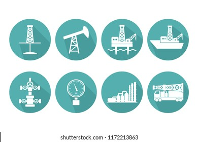 Set of graphic flat vector oil and gas icons for petroleum industry: onshore and offshore drilling signs, sucker rod pump, gas processing plant, Christmas tree, pressure gauge, mobile drilling rig