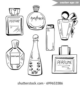 Set of graphic hand drawn perfume bottles of different shapes and sizes. Element for fashion logo design, decoration, magazine, shop and salon banner, poster, advertising, fabric print, sticker.