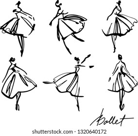 set of graphic hand-drawn ballerinas in different dancing poses artwork for tattoo, fabrics, souvenirs, packaging, greeting cards and scrapbooking