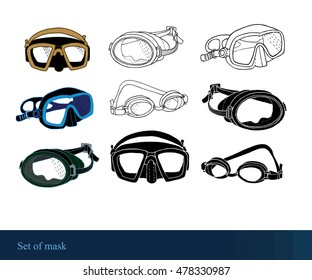 set of graphic mask, diving elements