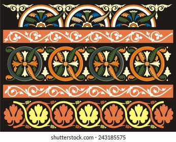 Set of graphic medieval ornaments. Vector
