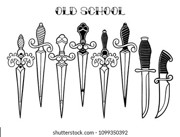 Set of graphic ornate knifes isolated on white background. Vector templates for old school tattoo design. Coloring book page for adults and kids