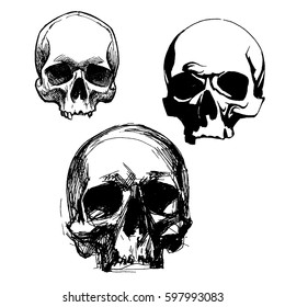 Set Of Graphic Skulls Vector Design. Dotted Technique. Isolated. Black On White Background. EPS 10