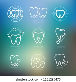 Set of graphic teeth.  Dental personage vector illustration. medical concept for your design. Oral hygiene, teeth cleaning. Teeth sticker. Vector Icon, illustration, Logotype, Logo