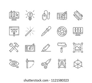 Set of Graphic tools outline icons isolated on white background. Editable Stroke. 64x64 Pixel Perfect.