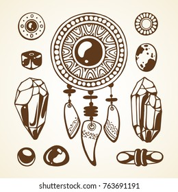Set with graphic vector illustration. Magic symbolic art in boho style. Amulet, stones, crystal, beads. Spirituality, alchemy design element for invitation, tattoo