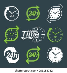 Set of graphic web vector 24 hours timers, around-the-clock flat invert pictograms. Day-and-night interface icon. Collection of business time management illustrations.
