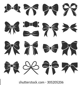 Set of graphical decorative bows. Vector sillouettes