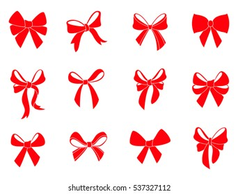 Set of graphical decorative bows. Vector silhouette. Beautiful set of ribbons for gift packages. Red icons isolated on white background.