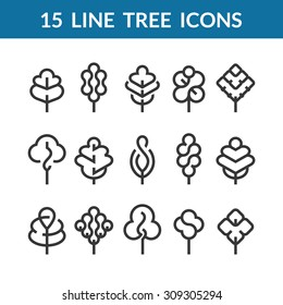 Set of graphical line trees and leaves, outline design collection of nature signs, logos and symbols.