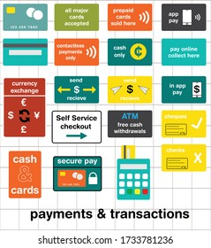 A set of graphics featuring payment cards and transactions