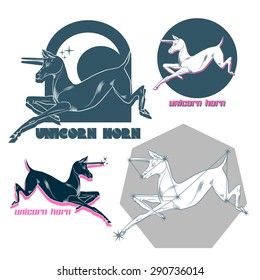 Set of graphics labels, badges and design elements. Unicorn logo template for your design