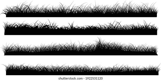Set of grass border silhouettes, banners of grassland meadow, vector illustrator