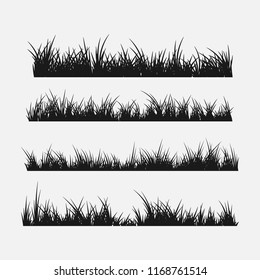 Set of grass silhouettes borders