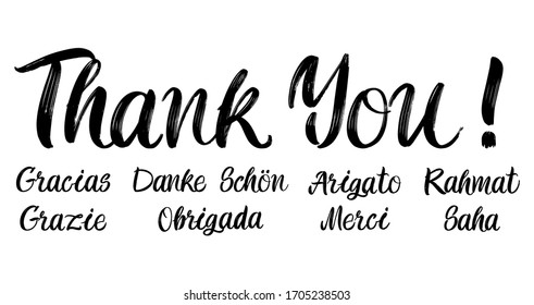 Set of grateful brush paint hand drawn lettering on white background. Thank you, Gracias, Grazie, Danke Schon, Arigato, Rahmat, Obrigada, Merci, Saha design templates for greeting cards, posters