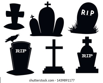 Set of gravestones. Collection of black grave silhouettes. Vector illustration of elements for halloween. Tattoo.