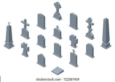 Set of gravestones isolated on white background. Isometric vector illustration