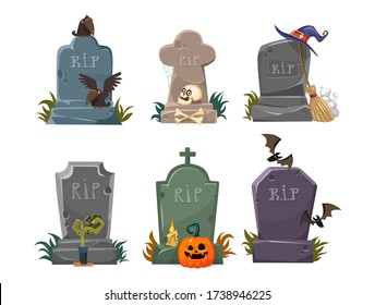 Set of gravestones with rest in peace inscription vector illustration. Old tomb collection cartoon design. Ancient rip. Halloween elements for decor concept. Isolated on white background