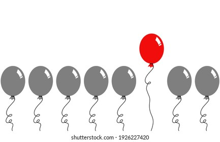 A set of gray balloons isolated on white background. There's a red one in the group that floating higher than another. Concept about idea, thinking, creative, different and self-confidence.