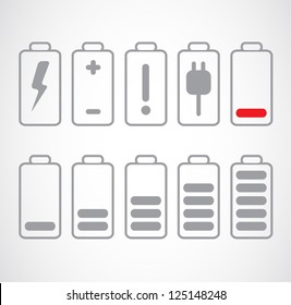 Set of gray battery charge level on white.