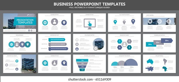 Set of gray and blue elements for multipurpose presentation template slides with graphs and charts. Leaflet, corporate report, marketing, advertising,  book cover design.