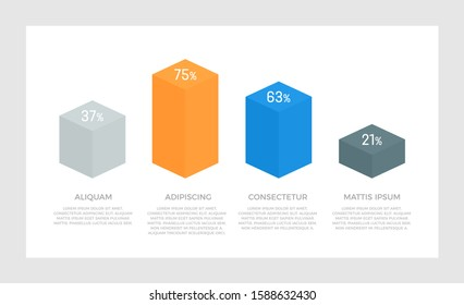 Set of gray and blue, orange elements for infographic presentation slides with charts, graphs, steps.