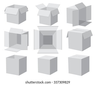 Set of gray boxes, different angles. Vector illustration.