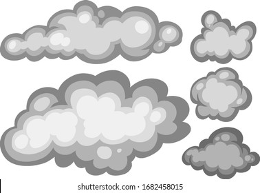 Set of gray clouds on white background illustration
