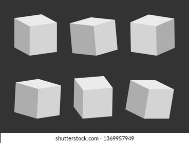Set of gray cubes on dark background, 3D model, different perspective and angle. Vector illustration