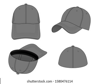 Set Gray Elastic Fit Baseball Cap Vector for Template