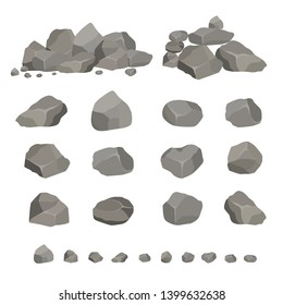 Set of gray granite stones of different shapes. Element of nature, mountains, rocks, caves. Minerals, boulder and cobble. Vector illustration on white isolated background