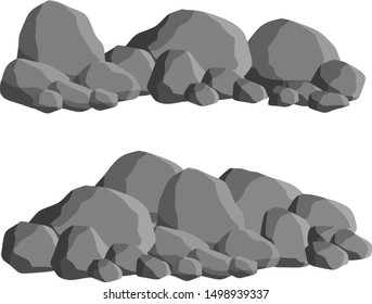 Set of gray granite stones of different shapes. Minerals, boulder and cobble. Element of nature, mountains, rocks, caves. Cartoon illustration