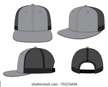 Set Gray Hip Hop Cap Design With Mesh Black Four Panels Vector, Snap Back Strap.