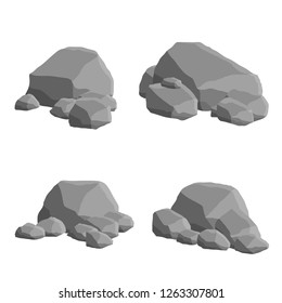 Set of gray natural stones. Element of mountains, forests and caves. Low wall and barrier. The element of the fence and blocks and boulders.