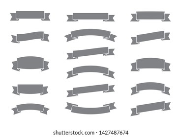 set of gray ribbon banner,arch banner,ribbon baner,flat  style,ribbon banner vector on white background
