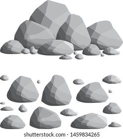 Set of gray rocks of different shapes. the environment of a natural cliff. nature background element. fence wall of blocks.