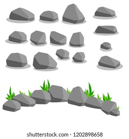 Set of gray stones. Cobblestones and gravel. Building material. Element surrounded by forests, mountains, nature and caves. Rock formation.
