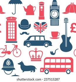 set of great britain symbols seamless pattern