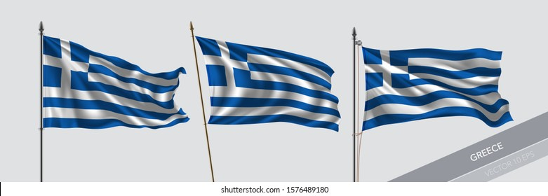 Set of Greece waving flag on isolated background vector illustration. 3 Greek wavy realistic flag as a symbol of patriotism