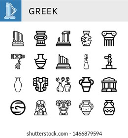 Set of greek icons such as Harp, Column, Parthenon, Amphora, Stabilizer, Greek vase, Vase, Statue, Armour, Neptune, Mathematician, Armor , greek