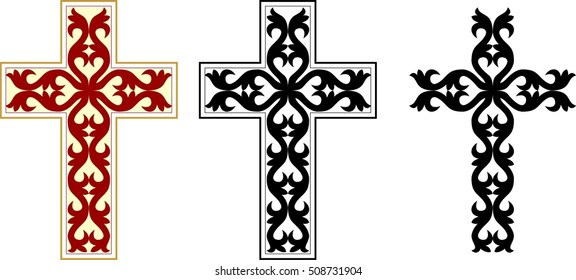 set of Greek orthodox byzantine crosses with decorative ornaments