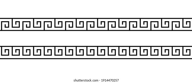 Set greek pattern. Greece border. Seamless meander ornament. collection geometric square greek patterns. Ancient line. Design prints. Greece style. Repeated meandros key. Grecian ethnic frame. Vector