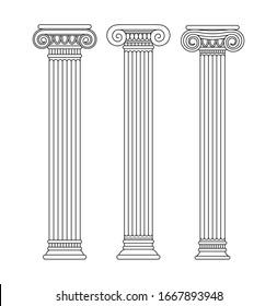 Set of greek and roman ancient classical columns, pillars.