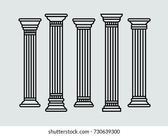Set of greek roman and oriental columns. Vector isolated illustration. Black outline.